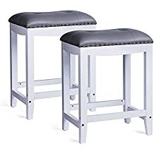 """Leopard Padded Saddle Stools ,SET OF 2 ,White Legs with Gray Cushion - 24"""" Height"""