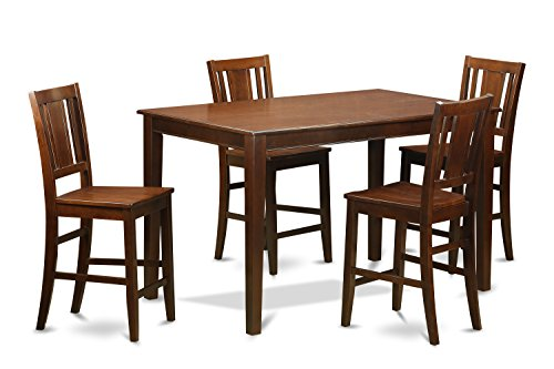 picture of East West Furniture DUBU5H-MAH-W 5-Piece Counter Height Table Set, Mahogany Finish