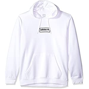 adidas Originals Men's Skateboarding Spell Out Hoodie, White/Black, S