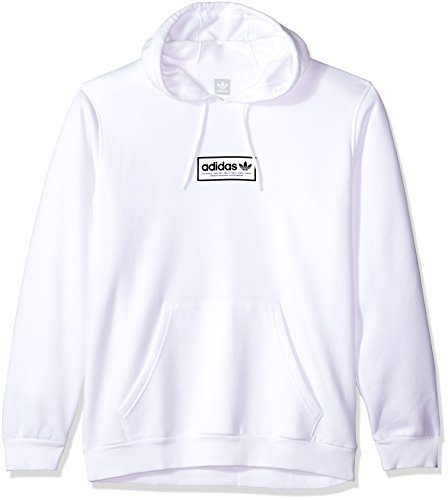(adidas Originals Men's Skateboarding Spell Out Hoodie, White/Black, L)