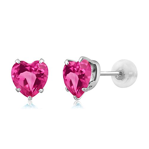 Gem Stone King 1.90 Ct Heart Shape 6mm Pink Mystic Topaz 10K White Gold Stud Earrings