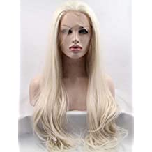 Tsnomore Long Straight Blond Synthetic Lace Front Women Wig (White Blond)