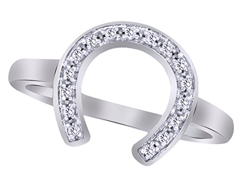 Wishrocks Natural Diamond Accent Horseshoe Ring in 14K White Gold Over Sterling Silver