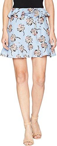 JOA Women's Ruffled Floral Print Mini Skirt, Sky/Taupe, ()