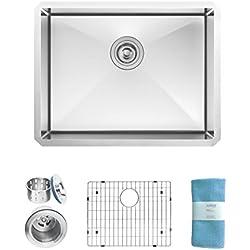 Zuhne Modena 23 Inch Undermount Single Bowl 16 Gauge Stainless Steel Kitchen Sink for 27 Inch Cabinet