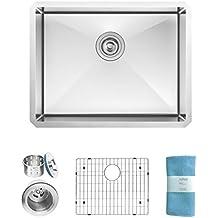 Zuhne Modena Undermount Single Bowl 23 x 18 Inch 16 Gauge Stainless Steel Kitchen Sink, Bar or Prep Kitchen Sink