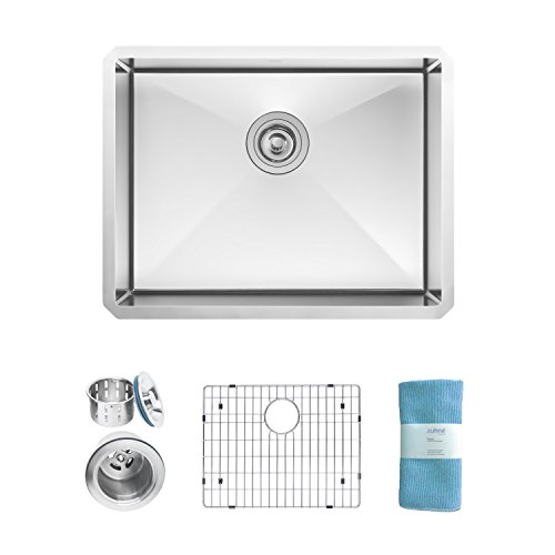 Zuhne Modena Undermount Single Bowl 23 x 18 Inch 16 Gauge Stainless Steel Kitchen Sink, Bar or Prep Kitchen Sink by Zuhne