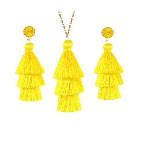 Joctly Tassel Statement Long Necklaces for Women Feather Fringe Pendant Necklace Earrings Jewelry Set - Earrings Fringe Necklace