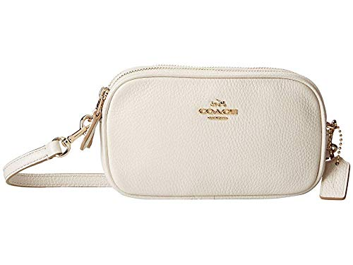 COACH Women's Polished Pebble Crossbody Pouch Li/Chalk One Size (Coach Nomad Crossbody In Burnished Glovetanned Leather)