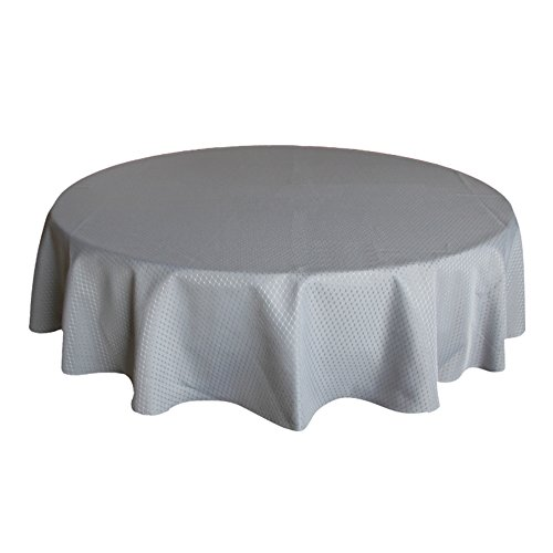 ColorBird Elegant Waffle Jacquard Tablecloth Waterproof Table Cover for Kitchen Dinning Tabletop Decor (Round, 70 Inch, Grey)