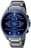 Armani Exchange Men's Smartwatch Touchscreen Watch with Stainless-Steel-Plated Strap, Blue, 22 (Model: AXT2003