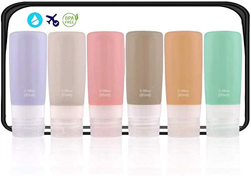 Travel Bottles Silicone, Leak Proof Travel Containers for Toiletries,TSA Approved BPA Free Food Grade Silicone Travel Accessories for Shampoo, Conditioner, Lotion, 2.9 oz 6 Pack ...