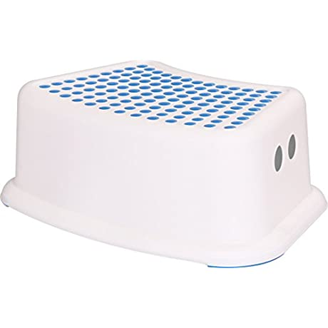 Kids Step Stool Perfect For Potty Training And Bathroom Use White Blue By Utopia Home