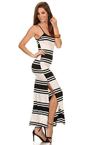 MeshMe Womens Kristin - High Side Slit Striped Patterned Print Bold Thick Lines Printed Pattern Ribbed Cami Camisole Top Spaghetti Strap Perfect Summer Casual Comfortable Bodycon Maxi Dress Medium