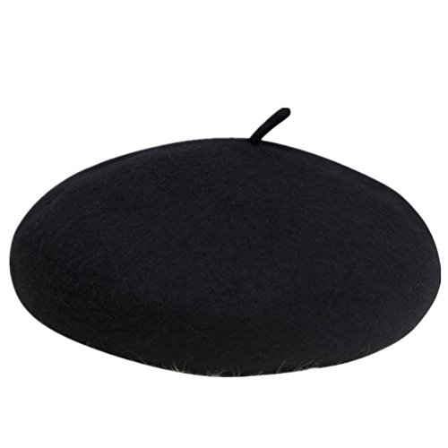 WoowTry Women's Fashion Flat Fleece Beret Outdoor Cold-proof Caps Berets Black One size