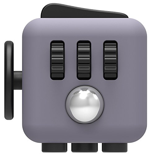 Stress Cube Relieves Stress & Anxiety Attention Toy Fidget Focus Cube For Children / Adult Gift (Gray+BK)