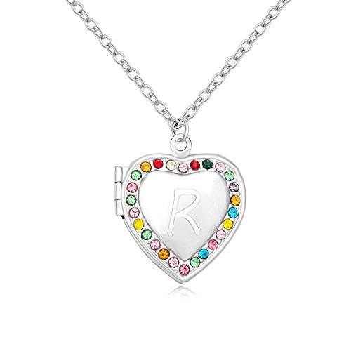 MANZHEN Silver Colorful Rhinestone Heart-Shaped Initial Brass Locket Necklace (R) ()