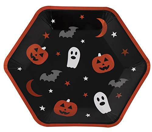 Disposable Plates - 50-Count Black Paper Plates, Hexagon Plates, Halloween Party Supplies for Appetizer, Lunch, Dinner, Dessert, with Ghost, Pumpkin, Bat Design, 9 x 8 Inches]()