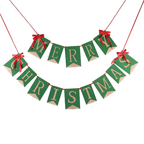 GOER Merry Christmas Burlap Banners Garlands with Ribbon Bows for Xmas Party Decoration Photo Prop (Green) -