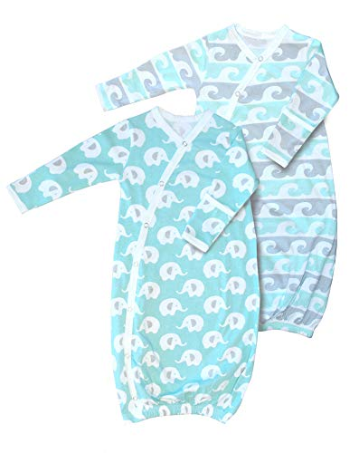 2 pk 100% Organic Cotton Kimono Gown, Boys or Girls, Easy Change with Built in Mitts Mint/Gray (0-3 Months)