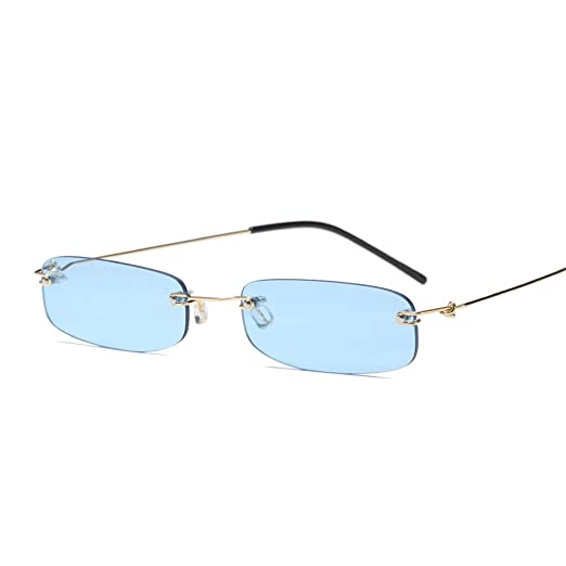 ea35c34290 Narrow Sunglasses Tiny Rectangle Rimless Sun Glasses Unisex 2018 Hot Sale  (clear blue)