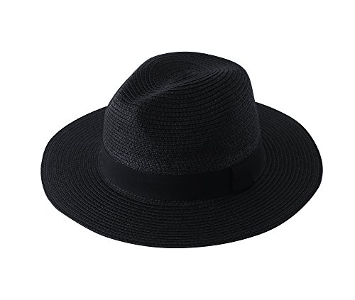ZSHAWN Womens UPF50 Foldable Summer Beach Straw Hat Panama Roll up Fedora Sun Hat (Black Panama Straw Hat)