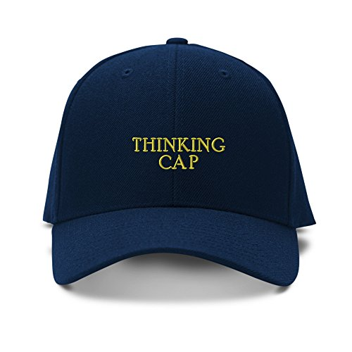 THINKING CAP FUNNY Embroidery Embroidered Adjustable Hat Baseball Cap Navy (Funny Caps)
