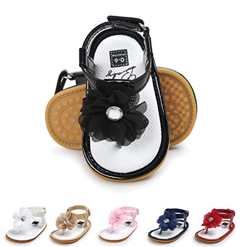 Sakuracan Infant Baby Girls Sandals Cute Summer Shoes Soft Sole Flat First Walker Shoes (0-9 Months US Infant, G-Black)