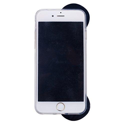 Funda Case para iPhone 6 iPhone 6S 4.7, Ukayfe 3D Crystal Creativa Fluye Liquido Lujo Moda Sparkle Glitter Bling Estrella Corazon Quicksand Diseño Cover Funda caja ,Protectora Carcasa Bling del brillo negro oso