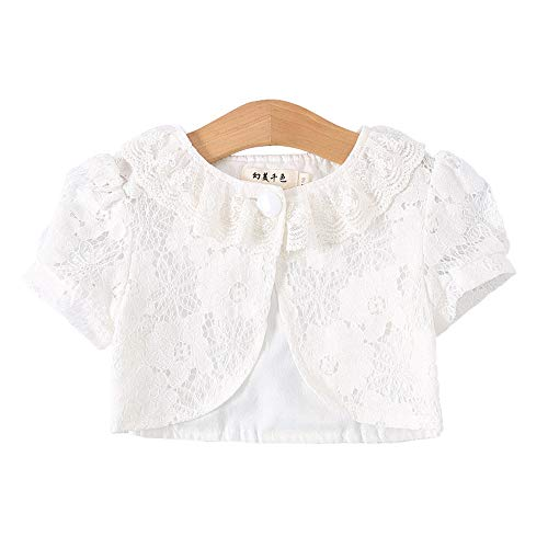 ICSTH Girls Bolero Shrug Short Sleeve Cardigan Age 4-12 Years (6-7 Years, White Lace)