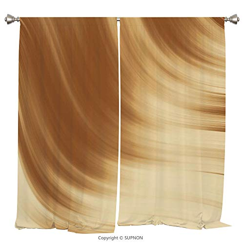 Rod Pocket Curtain Panel Thermal Insulated Blackout Curtains for Bedroom Living Room Dorm Kitchen Cafe/2 Curtain Panels/55 x 45 Inch/Tan,Curved Wave Like Conceptual Artistic Display Creamy Effect Soft - Prairie Cup Rose