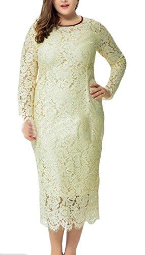 Night Neck Elegant Slim Jaycargogo Crochet Size Gown Scoop Lace Sleeve Long Fit Womens Apricot Over w7UqX5UxS
