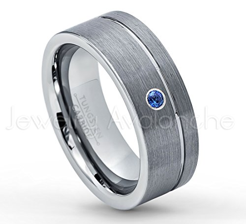007ct-Blue-Sapphire-Tungsten-Wedding-Band-8mm-Brushed-Finish-Comfort-Fit-Grooved-Pipe-Cut-Tungsten-Carbide-Wedding-Ring