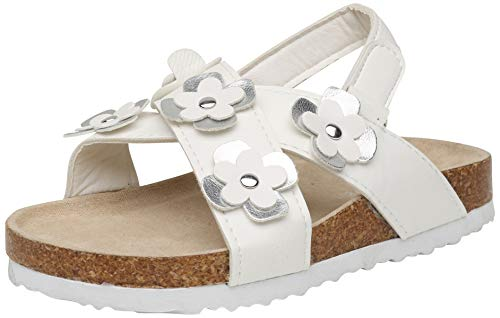 (dELiA*s Girls Open Toe Footbed Cork Sandal with Metallic Flowers, White/Silver, Size 9 M US Toddler')