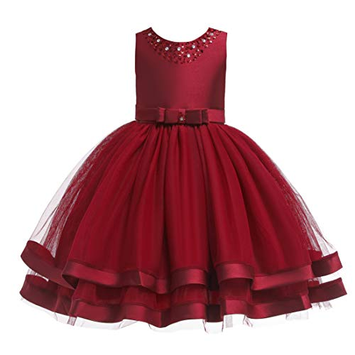 Glamulice Christmas Dress Girls Ruffles Vintage Embroidered Sequins Lace Dresses Bridesmaid Birthday Party Gown 2-16Y (3-4Y, Wine Red) -