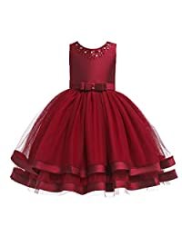 Glamulice Girls Ruffles Vintage Embroidered Sequins Lace Dresses Bridesmaid Birthday Party Dress 2-12Y