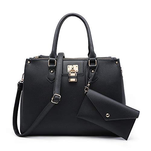 Dasein 2pcs Women Shoulder Purses Top handle Handbags Satchel Bags Work Tote Bags with Wallet -
