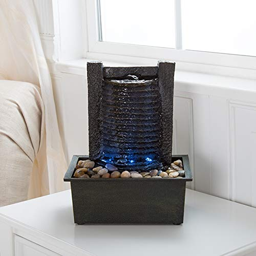 Indoor Water Fountain With LED Lights- Lighted Waterfall Tabletop Fountain With Stone Wall and Soothing Sound for Office and Home Décor By Pure Garden (Tabletop Water Fountains Indoor)