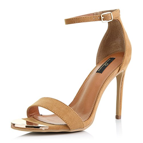 DailyShoes Women's Stilettos Sandal Open Toe Ankle Buckle Strap Platform Evening Party Dress Casual Shoes, Camel Suede, 7 B(M) US (Brown Heel High Sexy)