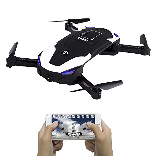 FPV Mini Pocket Foldable Selfie Drone WiFi 720P HD Camera Live Video Mobile Control 6 Axis RC Drone with Live Camera Foldable Drone Toys Altitude Hold Headless Mode 3D Flip with Two Batteries Best Gif