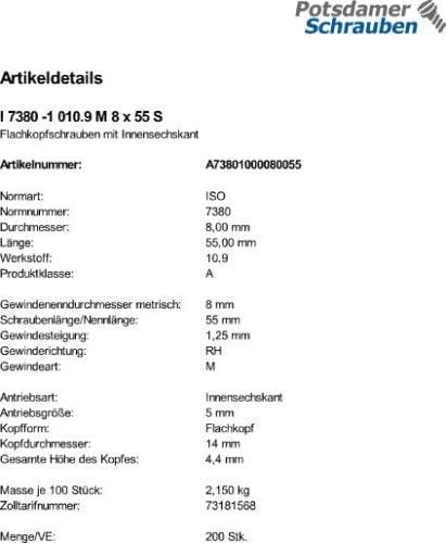 200 Inbus Linsenkopfschrauben ISO 7380-1 10.9 schwarz M8x55
