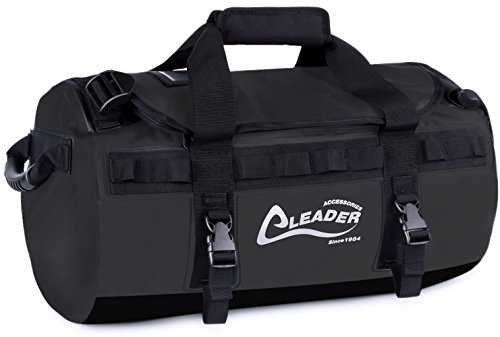 - Leader Accessories Deluxe Water Resistant PVC Tarpaulin Duffel Bag Backpack (Black, 40L)