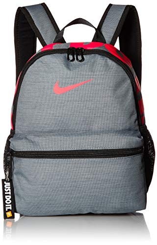 (NIKE Kids' Brasilia Just Do It Mini Backpack, Cool Grey/Black/Racer Pink, One Size)