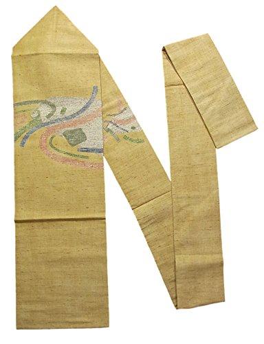 バッジ唯一有彩色のリサイクル 名古屋帯 紬 抽象模様 正絹