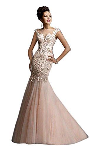 engerla Ärmel Kleid Tüll Spitze Hochzeit Applikation Damen Lachsfarben Angeschnittene Mermaid Mantel FR1tFqr