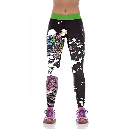 Melory Halloween Womens Yoga Pants Leggings for Gym Floral Banshee Printed High Waist Costume Casual Stretchy Skinny Pants Workout Pants XL ()
