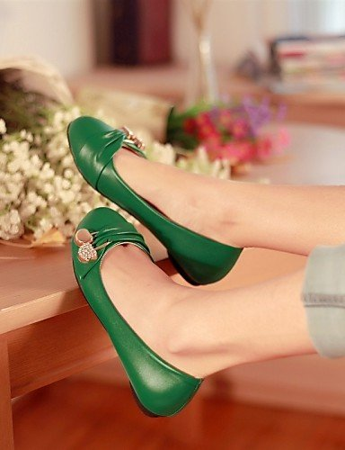 zapatos verde talón libre 5 rojo blanco mujer de 5 y PDX negro sintética oficina plano punta aire al us7 white redonda uk5 eu38 pisos cn38 de piel carrera casual Ow5nHY