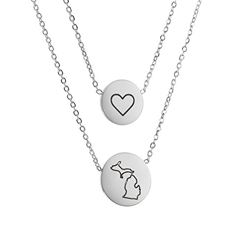 State Pendant Necklace Michigan MI - Heart Disc Double Chain Stainless (Michigan Heart)