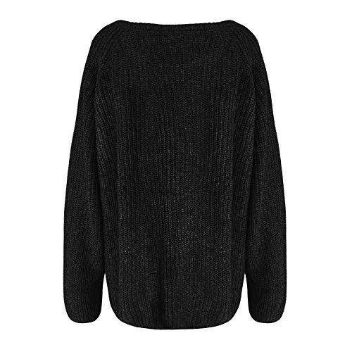 Jerséis Color Negro Anchas Camisetas Suéter Sólido Para Manga Sexys Mujer youth Elegante De Tops Blusas Larga K BnRwqaf6CU