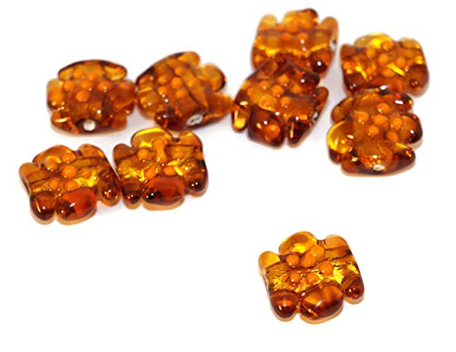 Gold Brown Orange Flower Grace Lampwork Beads Pair Czech Handmade Glass Artisan Lampwork Christmas Set Solid Gold 24K Candy Bow 15mm 2pc